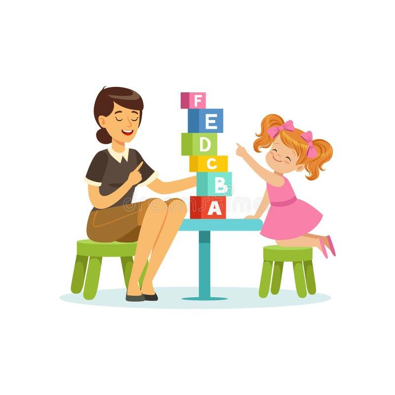 Χαριτωμένες επιστολές αλφάβητου εκμάθησης μικρών κοριτσιών μέσω του παιχνιδιού με την εκπαιδευτική έννοια παιχνιδιών λογοθεραπευτ απεικόνιση αποθεμάτων