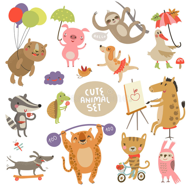 Χαριτωμένες ζωικές καθορισμένες απεικονίσεις με τους χαρακτήρες διανυσματική απεικόνιση