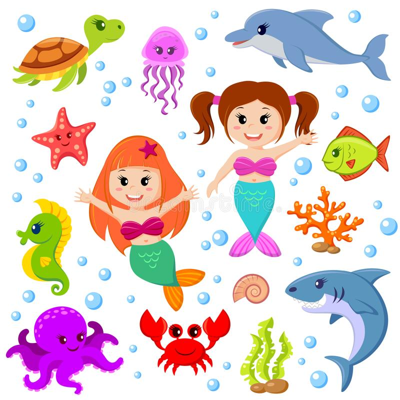 Χαριτωμένες ζώα και γοργόνες θάλασσας κινούμενων σχεδίων διανυσματική απεικόνιση