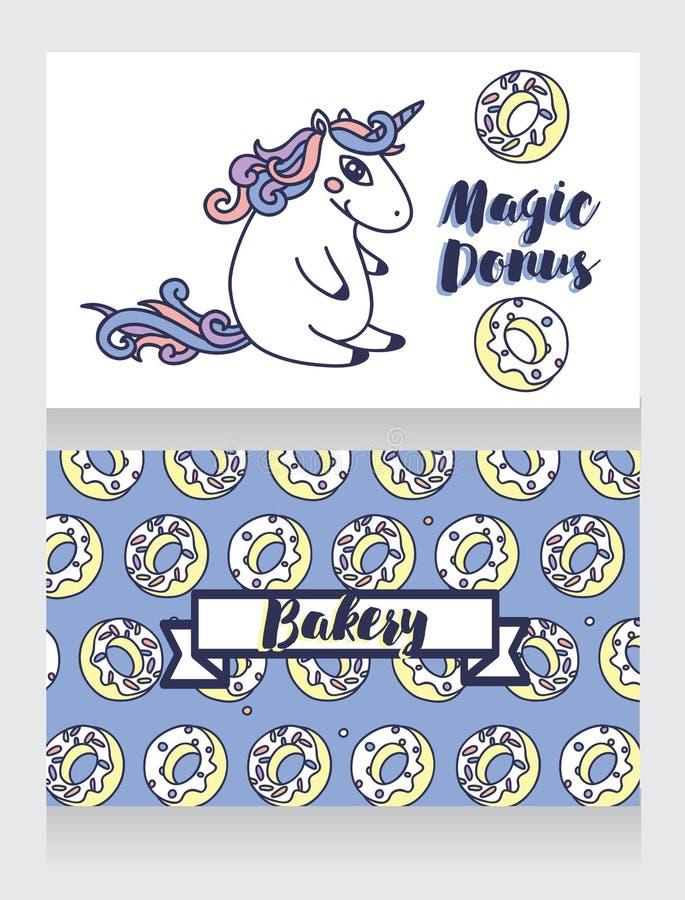 Χαριτωμένες κάρτες για το αρτοποιείο με τα κινούμενα σχέδια donuts και το μονόκερο ελεύθερη απεικόνιση δικαιώματος