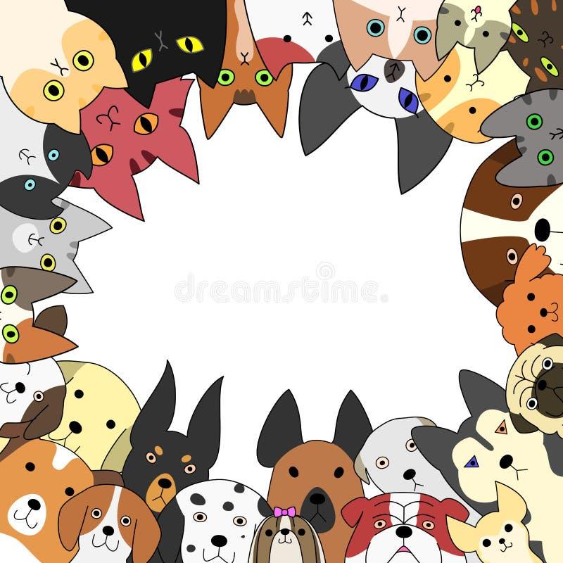 Χαριτωμένες κάρτες σκυλιών και γατών ελεύθερη απεικόνιση δικαιώματος