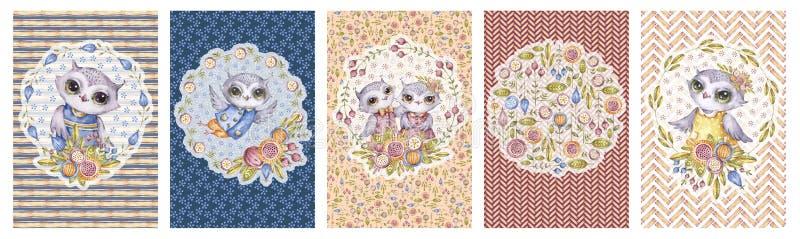 Χαριτωμένες κουκουβάγιες watercolor, σύνολο καρτών, παιδαριώδες ύφος διανυσματική απεικόνιση