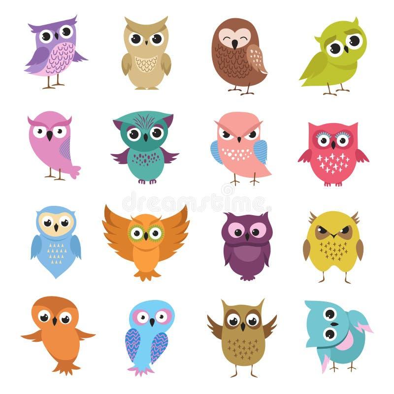 χαριτωμένες κουκουβάγ&iot Αστεία δασική διανυσματική συλλογή πουλιών διανυσματική απεικόνιση