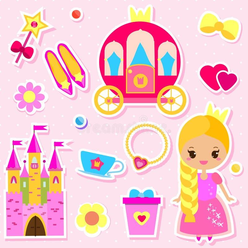 Χαριτωμένες κούκλα εγγράφου πριγκηπισσών και αυτοκόλλητες ετικέττες εξαρτημάτων παραμυθιών καθορισμένες Για τις προσκλήσεις κομμά απεικόνιση αποθεμάτων