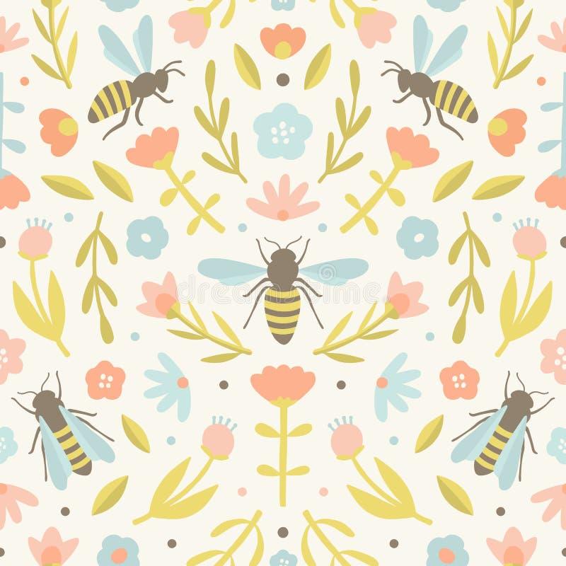 Χαριτωμένες λουλούδια και μέλισσες απεικόνιση αποθεμάτων