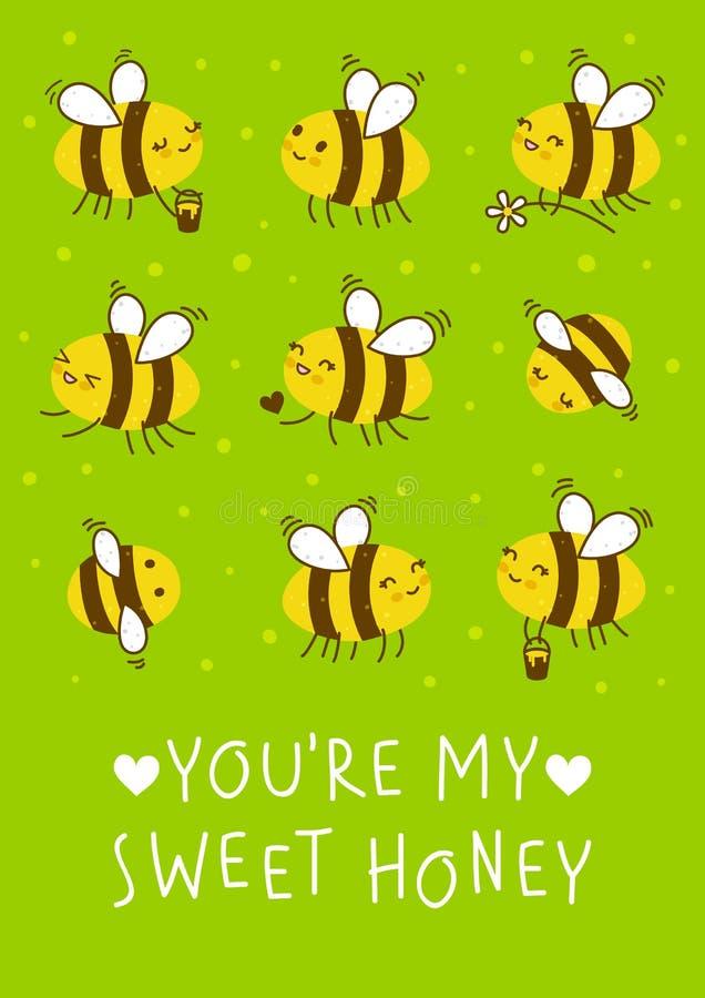 Χαριτωμένες μέλισσες μελιού σε πράσινο ελεύθερη απεικόνιση δικαιώματος