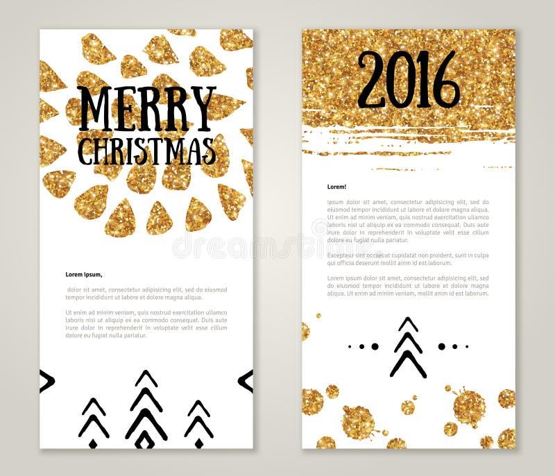 Χαριτωμένες νέες ευχετήριες κάρτες έτους με το χρυσό κομφετί διανυσματική απεικόνιση