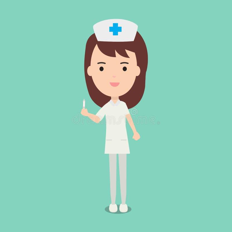 Χαριτωμένες νοσοκόμες και ιατρικό διάνυσμα συρίγγων λαβής προσωπικού διανυσματική απεικόνιση