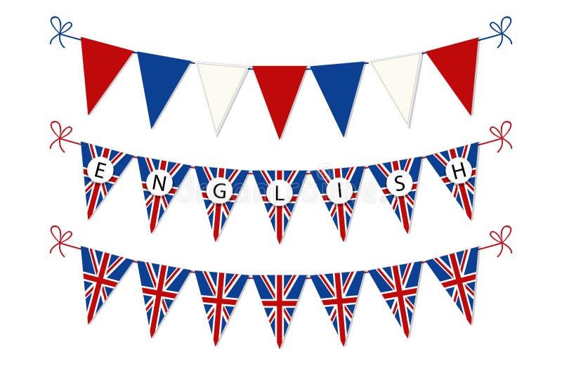 Χαριτωμένες σημαίες υφάσματος για την ημέρα αγγλικής γλώσσας διανυσματική απεικόνιση