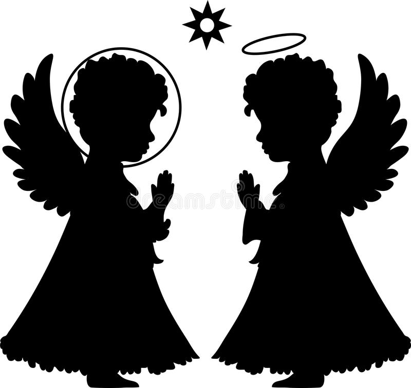 Χαριτωμένες σκιαγραφίες αγγέλων που τίθενται ελεύθερη απεικόνιση δικαιώματος