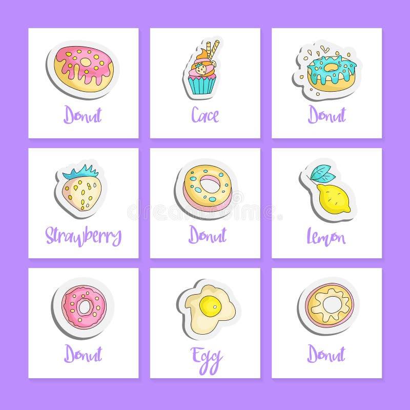 Χαριτωμένες τετραγωνικές κάρτες τροφίμων κινούμενων σχεδίων με το αγγλικό κείμενο Διανυσματικές αυτοκόλλητες ετικέττες διασκέδαση απεικόνιση αποθεμάτων