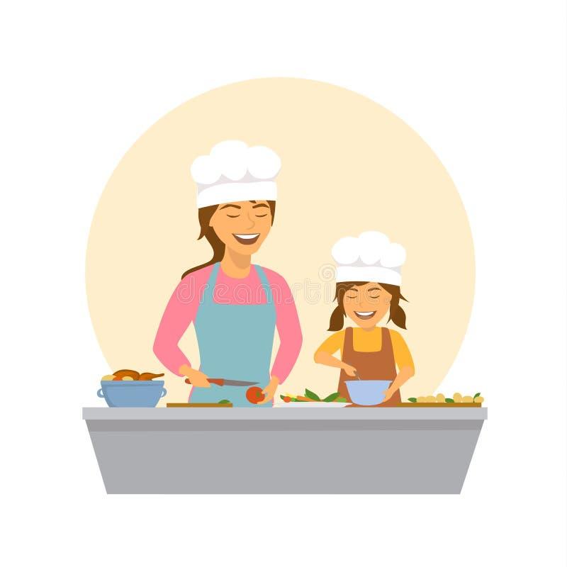 Χαριτωμένες χαμογελώντας μητέρα και κόρη που μαγειρεύουν από κοινού ελεύθερη απεικόνιση δικαιώματος