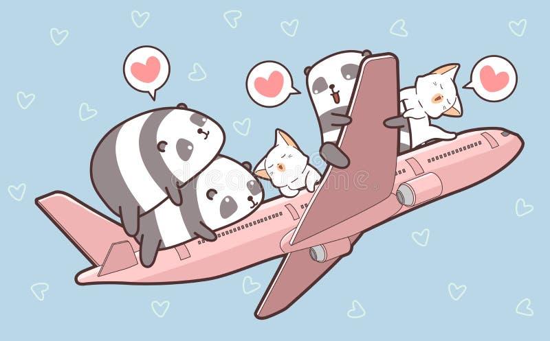 Χαριτωμένες pandas και γάτες και στο αεροπλάνο απεικόνιση αποθεμάτων