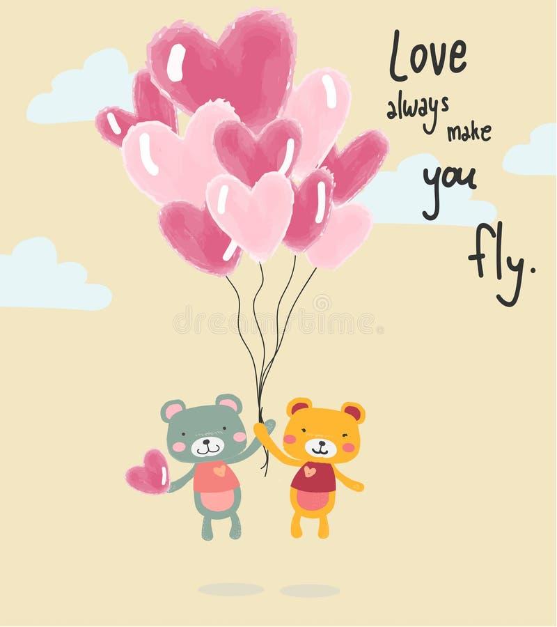 Χαριτωμένες teddy αρκούδες κινούμενων σχεδίων που πετούν με τα μπαλόνια καρδιών, κατάλληλα για την εκτύπωση καρτών διανυσματική απεικόνιση