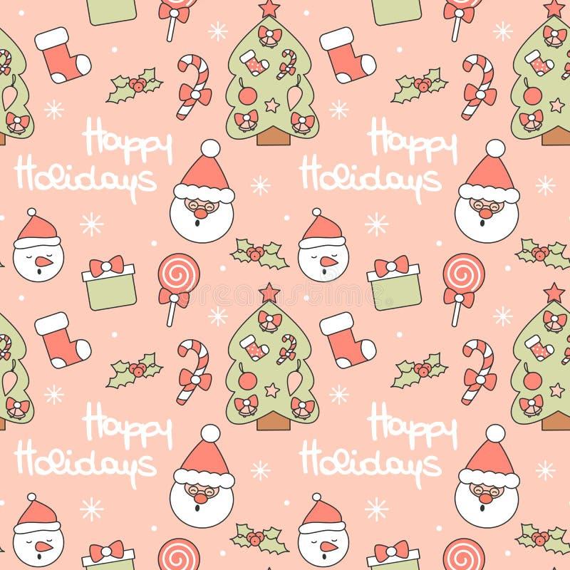 Χαριτωμένη άνευ ραφής διανυσματική απεικόνιση υποβάθρου σχεδίων με Άγιο Βασίλη, χριστουγεννιάτικο δέντρο, κάλαμος καραμελών, κιβώ απεικόνιση αποθεμάτων