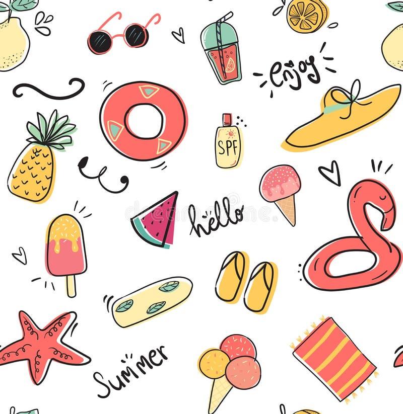 χαριτωμένη άνευ ραφής επίπεδη διανυσματική απεικόνιση σχεδίων θερινής συλλογής doodle διανυσματική απεικόνιση
