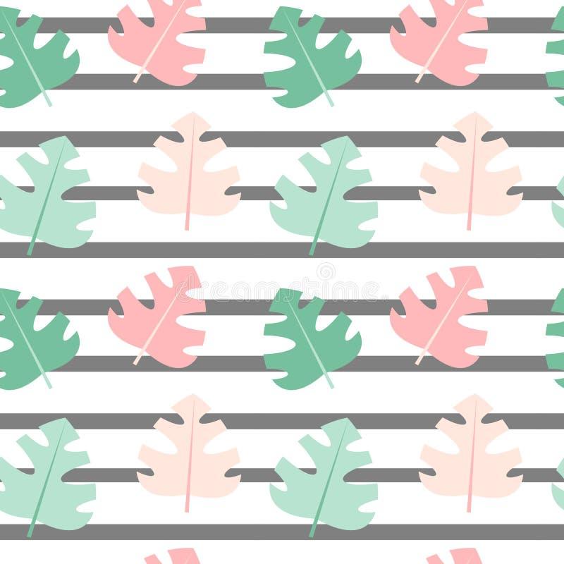 Χαριτωμένη άνευ ραφής ριγωτή διανυσματική απεικόνιση υποβάθρου σχεδίων με τα εξωτικά φύλλα διανυσματική απεικόνιση