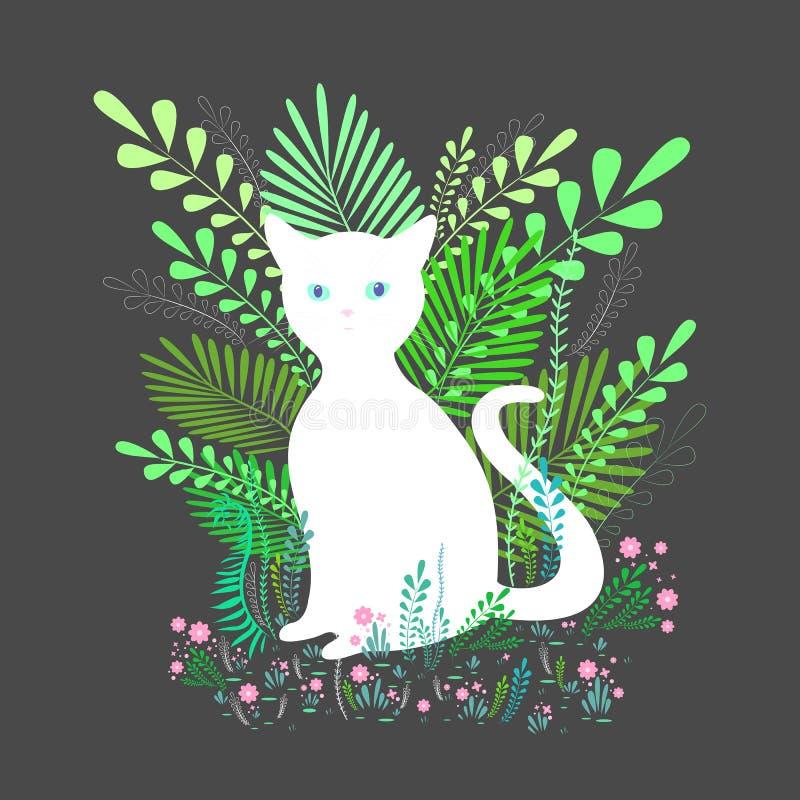 Χαριτωμένη άσπρη γάτα με τα μπλε μάτια, καθμένος στο φύλλωμα και τα λουλούδια, που απομονώνονται στο γκρίζο υπόβαθρο Ζωηρόχρωμο δ απεικόνιση αποθεμάτων