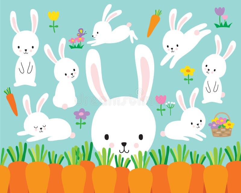 Χαριτωμένη άσπρη διανυσματική απεικόνιση κουνελιών λαγουδάκι Πάσχας απεικόνιση αποθεμάτων