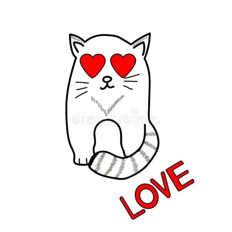 Χαριτωμένη αγάπη γατών και λέξης καρτών ημέρας σχεδίου dreamstime πράσινο καρδιών διάνυσμα βαλεντίνων απεικόνισης s τυποποιημένο ελεύθερη απεικόνιση δικαιώματος