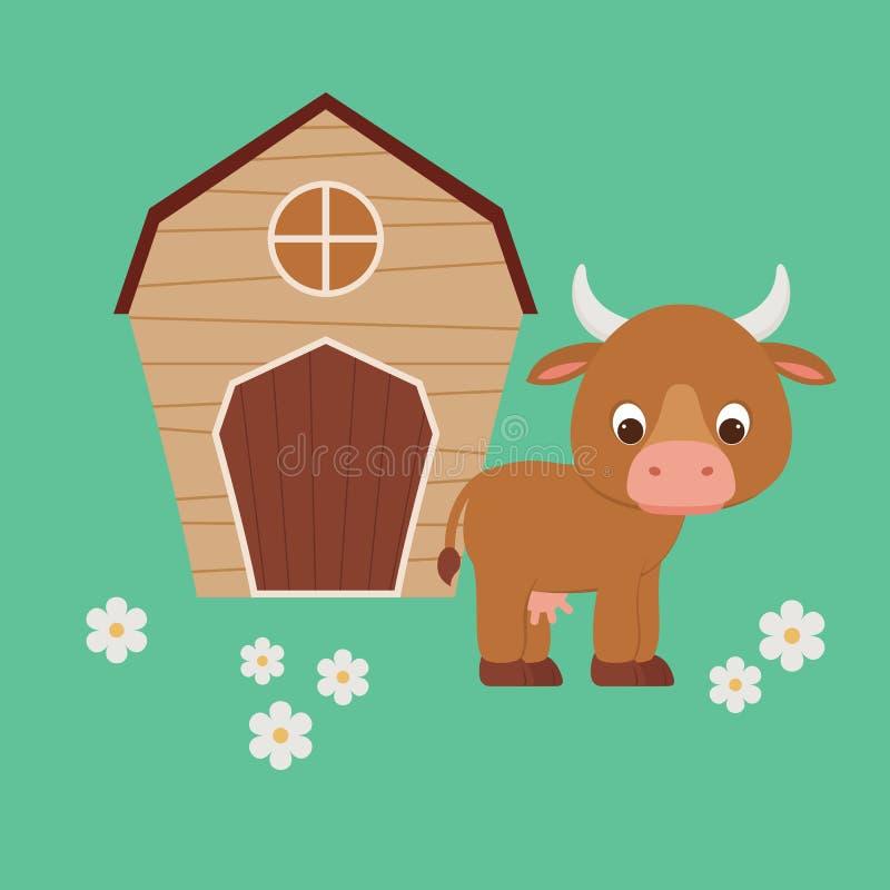 Χαριτωμένη αγελάδα κινούμενων σχεδίων που μένει μπροστά από τη σιταποθήκη ελεύθερη απεικόνιση δικαιώματος