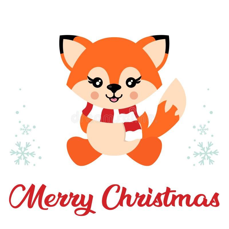 Χαριτωμένη αλεπού κινούμενων σχεδίων με το διανυσματικό κείμενο συνεδρίασης και Χριστουγέννων μαντίλι ελεύθερη απεικόνιση δικαιώματος