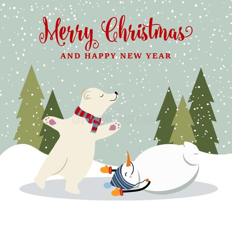 Χαριτωμένη αναδρομική επίπεδη κάρτα Χριστουγέννων σχεδίου με το χιονάνθρωπο και το πολικό bea διανυσματική απεικόνιση