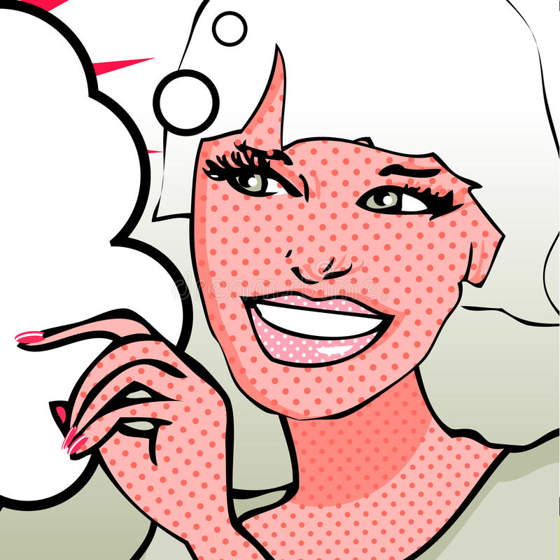 Χαριτωμένη αναδρομική χαμογελώντας γυναίκα απεικόνιση αποθεμάτων