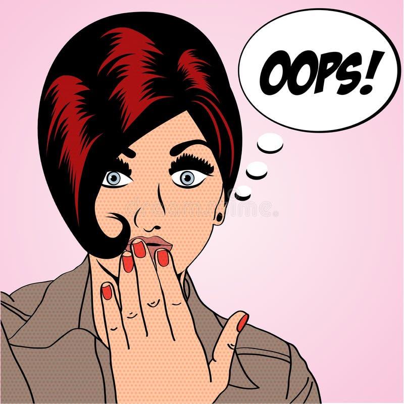 Χαριτωμένη αναδρομική γυναίκα στο ύφος comics διανυσματική απεικόνιση