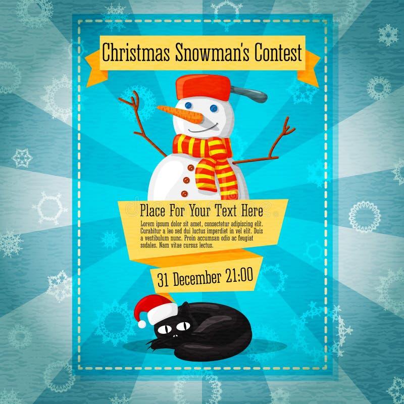 Χαριτωμένη αναδρομική πρόσκληση διαγωνισμού Χαρούμενα Χριστούγεννας ή διανυσματική απεικόνιση