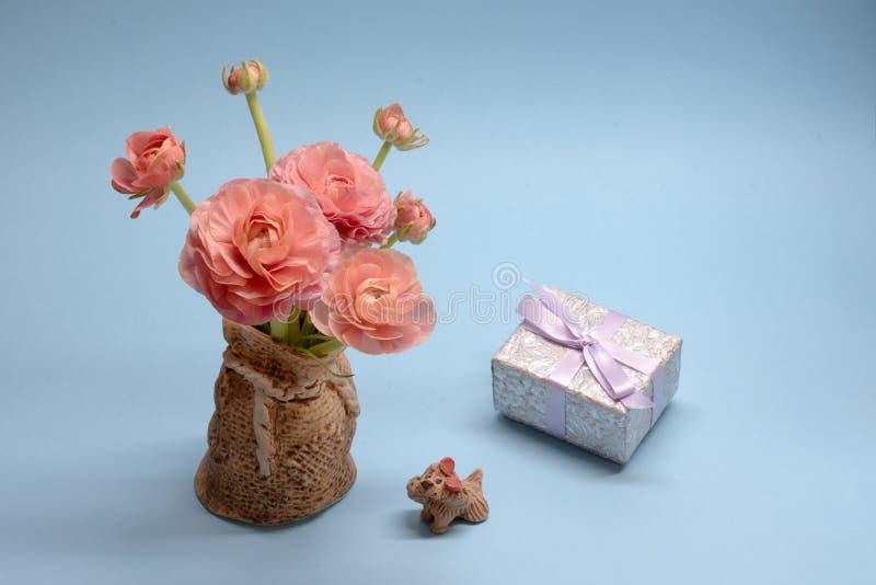 Χαριτωμένη ανθοδέσμη των τρυφερών ρόδινων νεραγκουλών και ένα δώρο σε ένα μπλε υπόβαθρο στοκ εικόνα με δικαίωμα ελεύθερης χρήσης