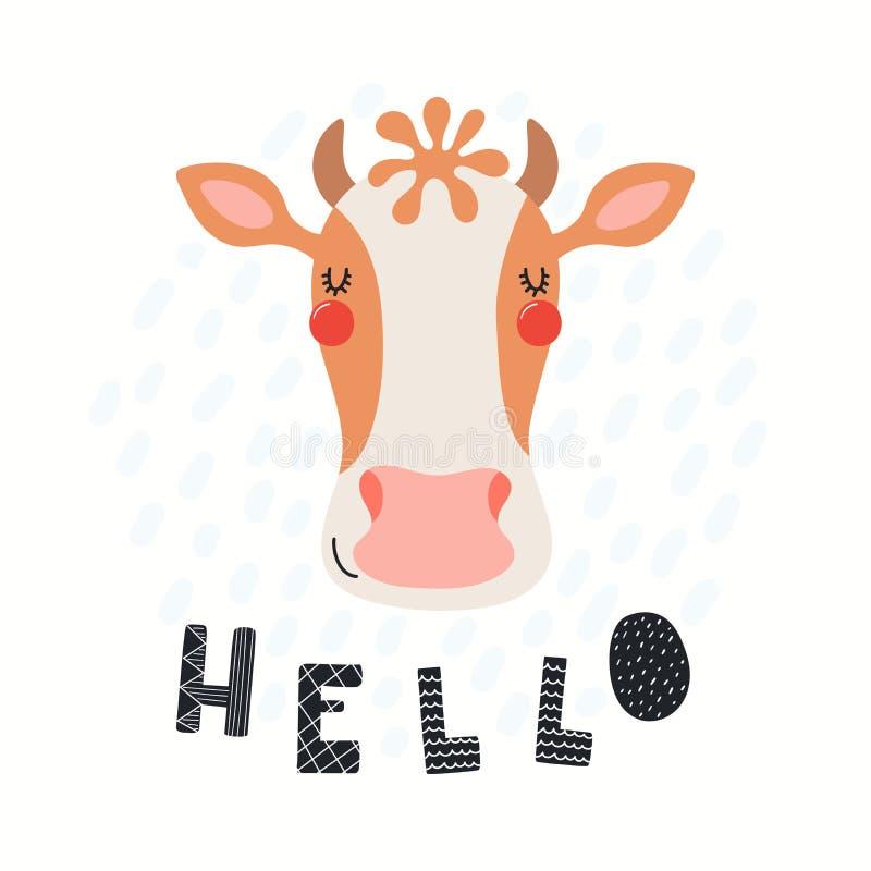Χαριτωμένη απεικόνιση αγελάδων ελεύθερη απεικόνιση δικαιώματος