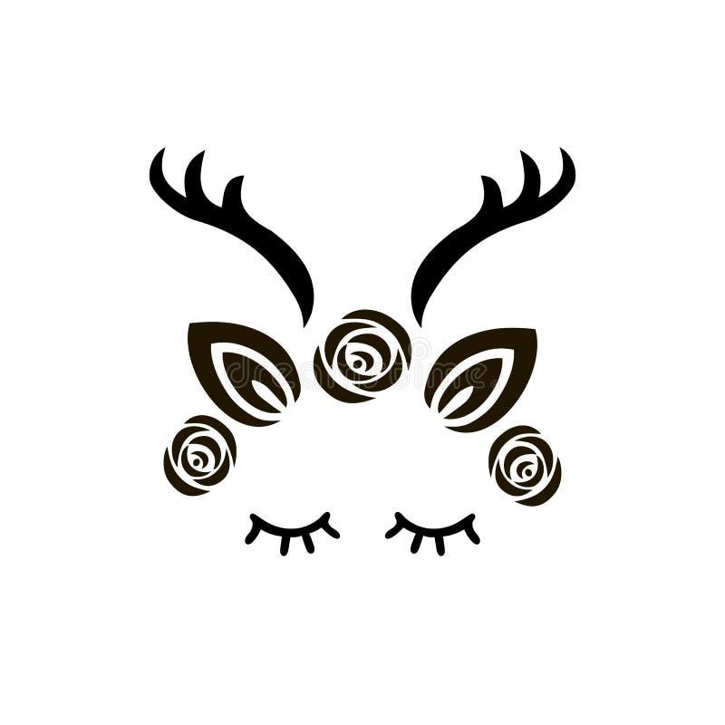 Χαριτωμένη απεικόνιση ελαφιών ως λογότυπο, διακριτικό, μπάλωμα διανυσματική απεικόνιση