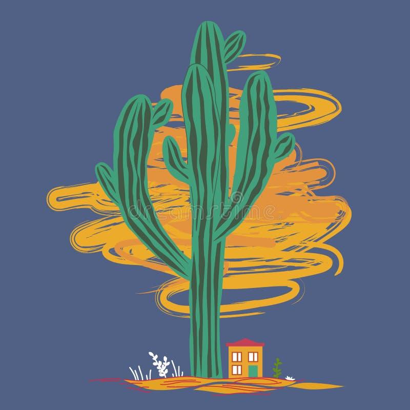 Χαριτωμένη απεικόνιση κινούμενων σχεδίων με τον υψηλούς κάκτο και liitle το σπίτι saguaro Μεξικάνικο τοπίο νεράιδων, τυπωμένη ύλη διανυσματική απεικόνιση