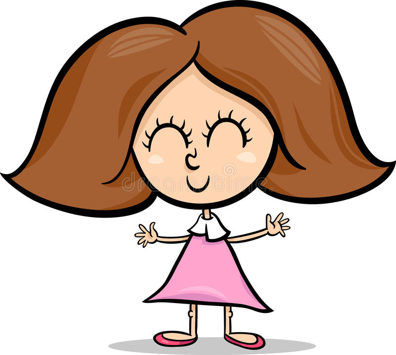 Χαριτωμένη απεικόνιση κινούμενων σχεδίων μικρών κοριτσιών απεικόνιση αποθεμάτων