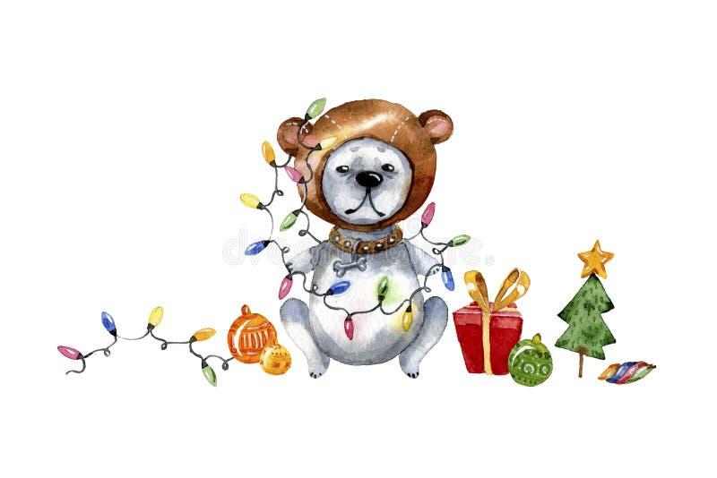 Χαριτωμένη απεικόνιση κουταβιών κινούμενων σχεδίων Απεικόνιση Watercolor για τα Χριστούγεννα Ευχετήρια κάρτα έτους σκυλιών ελεύθερη απεικόνιση δικαιώματος