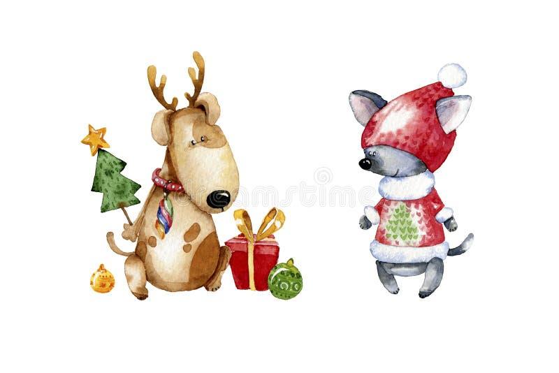 Χαριτωμένη απεικόνιση κουταβιών κινούμενων σχεδίων Απεικόνιση Watercolor για τα Χριστούγεννα ελεύθερη απεικόνιση δικαιώματος