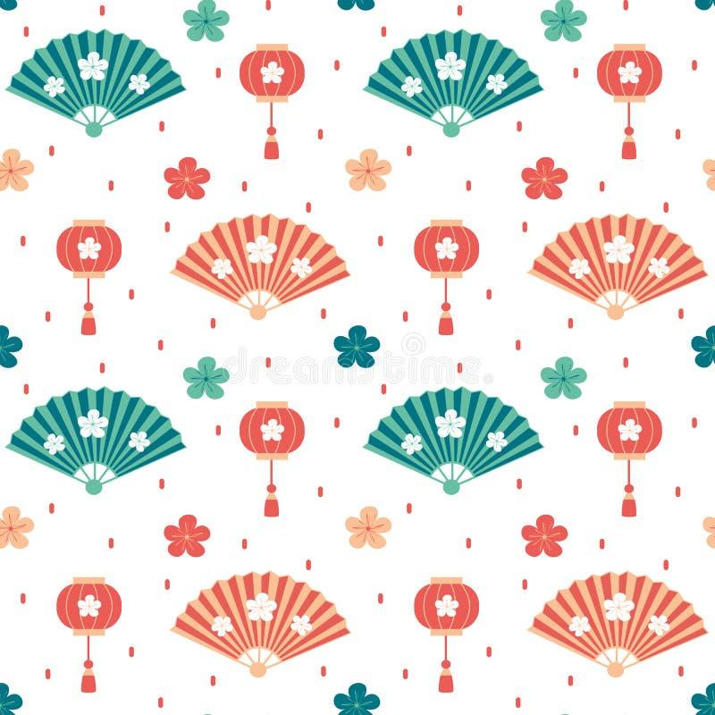 Χαριτωμένη ασιατική άνευ ραφής διανυσματική απεικόνιση υποβάθρου σχεδίων με τους ανεμιστήρες, τα κινεζικά φανάρια, τα λουλούδια κ απεικόνιση αποθεμάτων