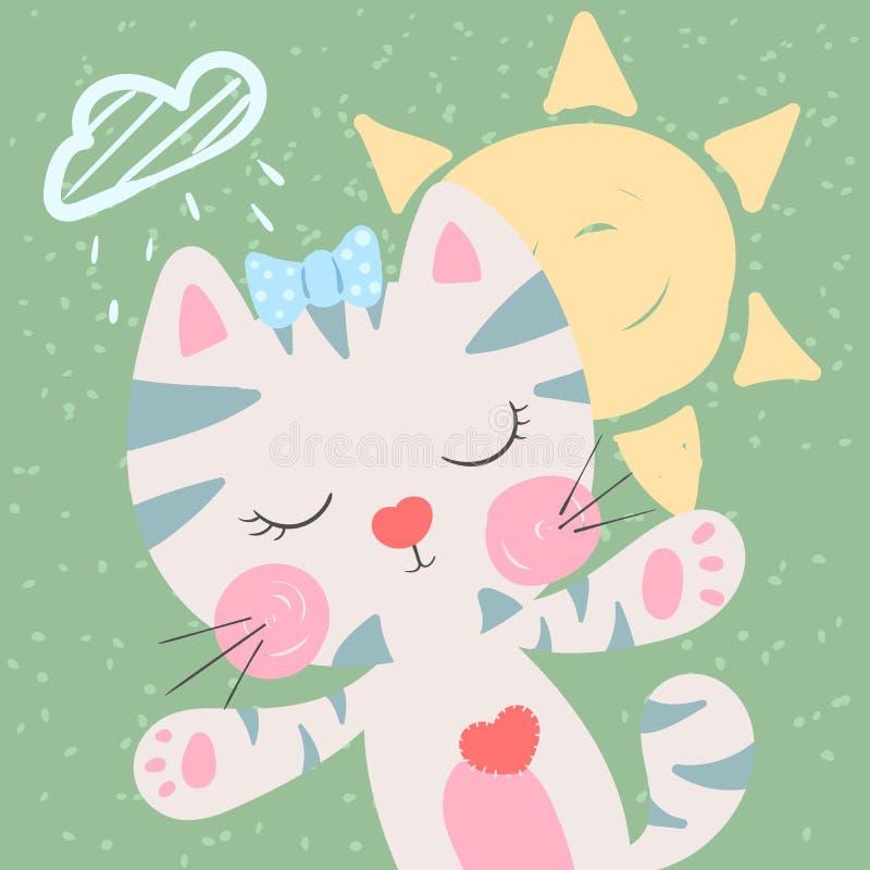 Χαριτωμένη, αστεία γάτα Καιρική απεικόνιση Ιδέα για την μπλούζα τυπωμένων υλών απεικόνιση αποθεμάτων