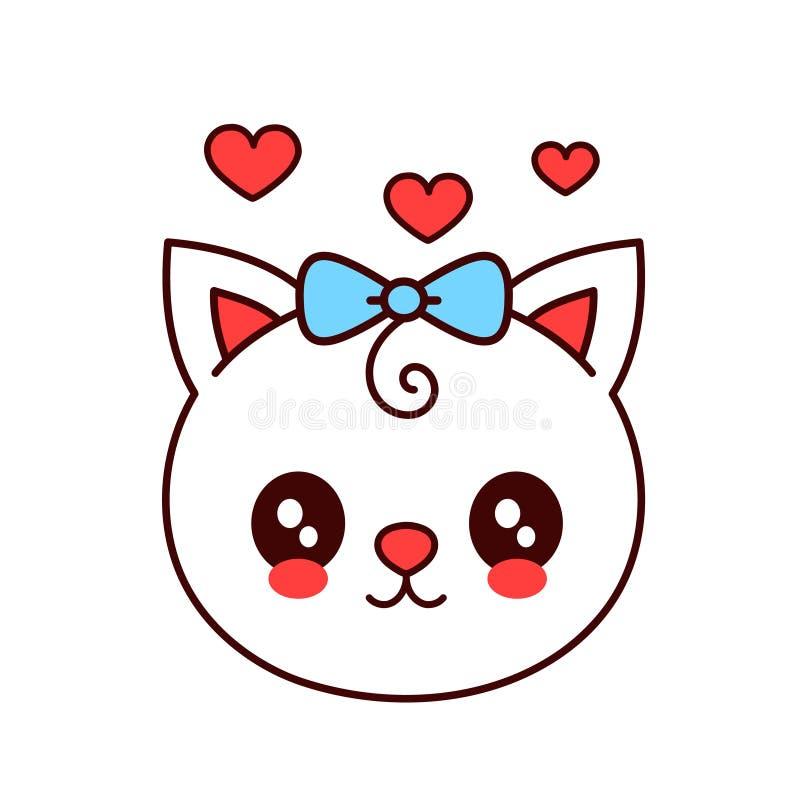 Χαριτωμένη αστεία γάτα χαμόγελου, πρόσωπο γατακιών διάνυσμα διανυσματική απεικόνιση
