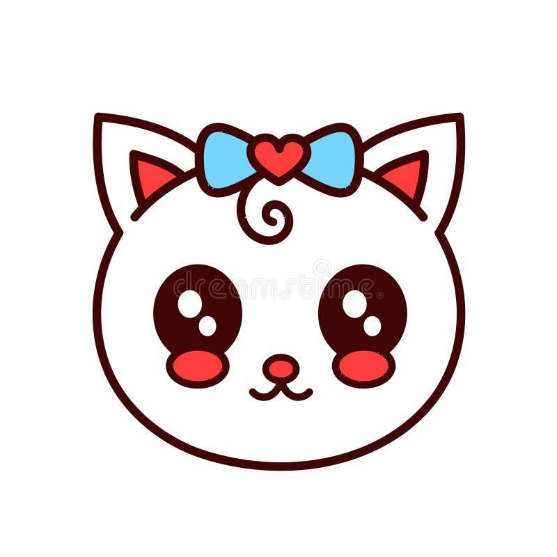 Χαριτωμένη αστεία γάτα χαμόγελου, πρόσωπο γατακιών διάνυσμα ελεύθερη απεικόνιση δικαιώματος