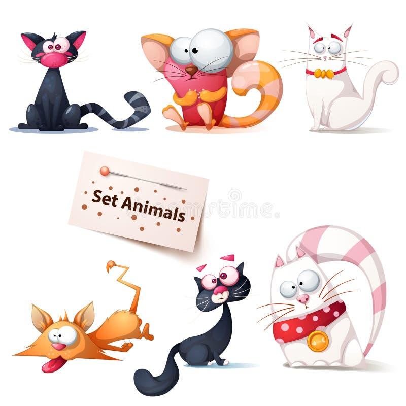Χαριτωμένη, αστεία, τρελλή απεικόνιση γατών ελεύθερη απεικόνιση δικαιώματος