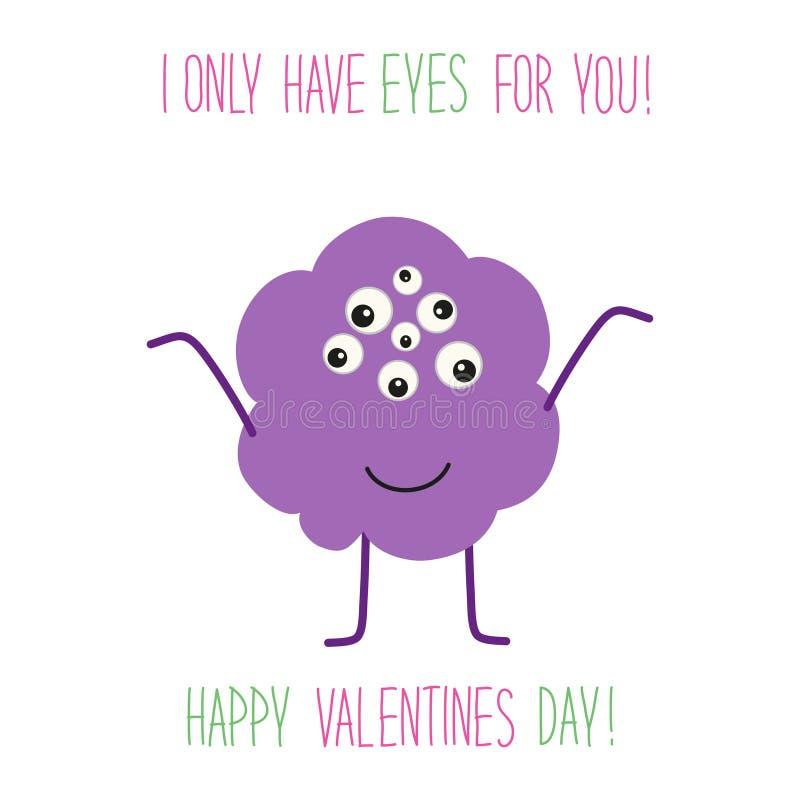 Χαριτωμένη ασυνήθιστη κάρτα ημέρας βαλεντίνων ` s με τον αστείο χαρακτήρα κινουμένων σχεδίων του τέρατος με πολλά μάτια και γραπτ απεικόνιση αποθεμάτων