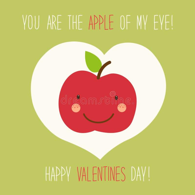Χαριτωμένη ασυνήθιστη συρμένη χέρι κάρτα ημέρας βαλεντίνων με τον αστείο χαρακτήρα κινουμένων σχεδίων του μήλου ελεύθερη απεικόνιση δικαιώματος