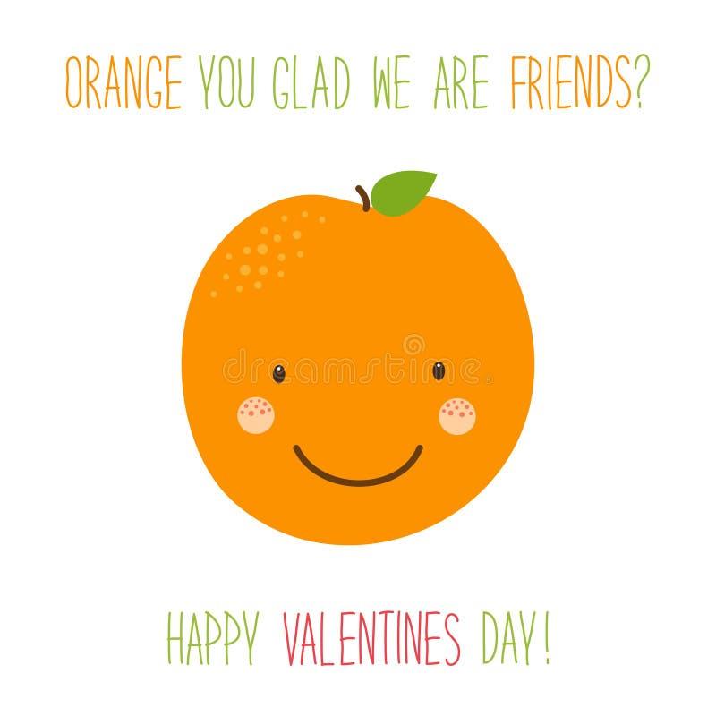 Χαριτωμένη ασυνήθιστη συρμένη χέρι κάρτα ημέρας βαλεντίνων με τους αστείους χαρακτήρες κινουμένων σχεδίων του πορτοκαλιού ελεύθερη απεικόνιση δικαιώματος