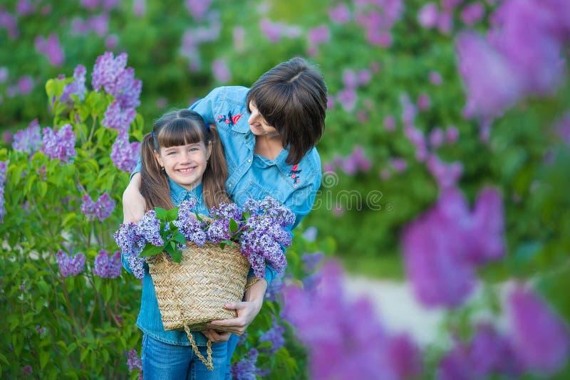 Χαριτωμένη λατρευτή όμορφη γυναικεία mom γυναίκα μητέρων με την κόρη κοριτσιών brunette στο λιβάδι του ιώδους πορφυρού θάμνου Άνθ στοκ φωτογραφία