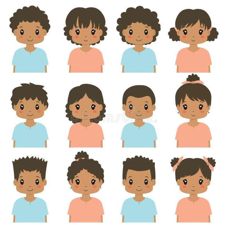 Χαριτωμένη αφροαμερικάνων διανυσματική συλλογή ειδώλων σώματος παιδιών μισή διανυσματική απεικόνιση