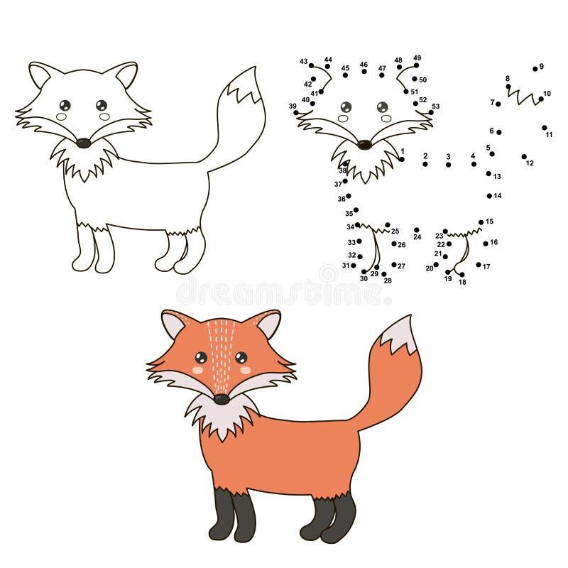 Χαριτωμένη αλεπού κινούμενων σχεδίων Χρωματισμός και σημείο για να διαστίξει το εκπαιδευτικό παιχνίδι για τα παιδιά απεικόνιση αποθεμάτων