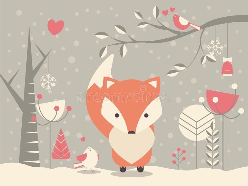 Χαριτωμένη αλεπού μωρών Χριστουγέννων που περιβάλλεται με τη floral διακόσμηση διανυσματική απεικόνιση