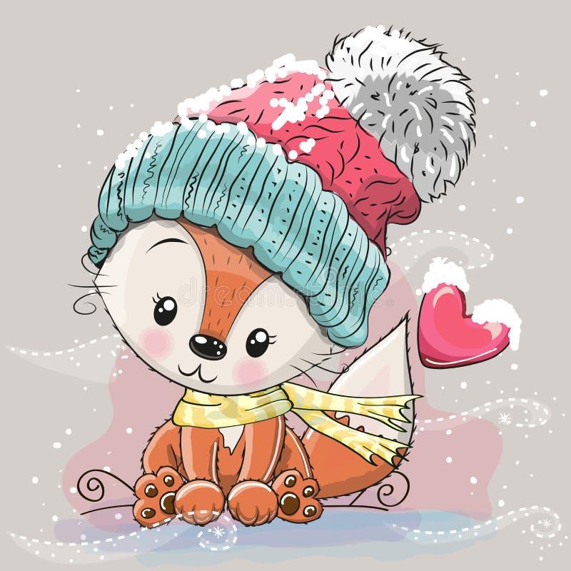 Χαριτωμένη αλεπού σε μια πλεκτή ΚΑΠ διανυσματική απεικόνιση